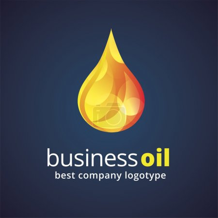 Abstract vector oil drop logotype isolated on dark background. Key ideas is fresh, drinks, water and ocean, eco, nature. Concept for corporate identity and branding