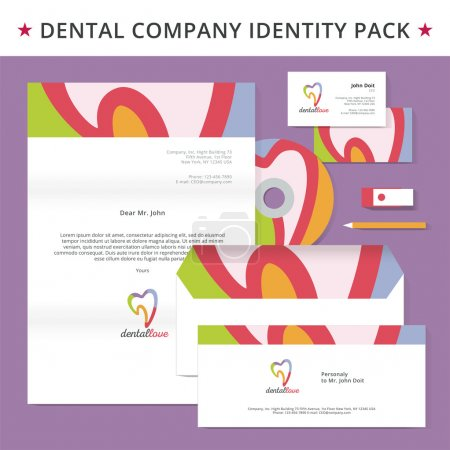 Abstract dentist tooth identity pack vector concept. Logo, vizit cards, cd, usb flash drive, letter, folder and other id blanks. Good for company branding set.