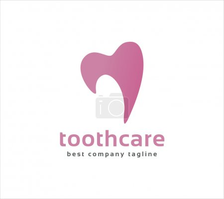 Abstract vector tooth logo icon similar human heart concept. Good as logotype template design