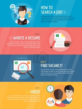 Job search after university  infographic . Students, labor, searching and professions. Vector stocks illustration for design