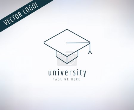 Illustration for Graduation Hat vector logo icon. Education, students or school and college symbol. Stock design element - Royalty Free Image