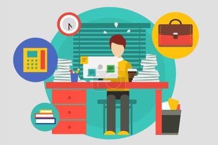 Illustration pour Stress dans l'illustration du bureau. Travail acharné et homme d'affaires. Éléments de conception - image libre de droit