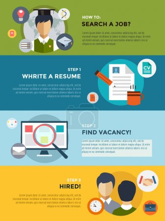 Job search after university infographic. Students, labor, searching and professions. Vector stocks illustration for design.