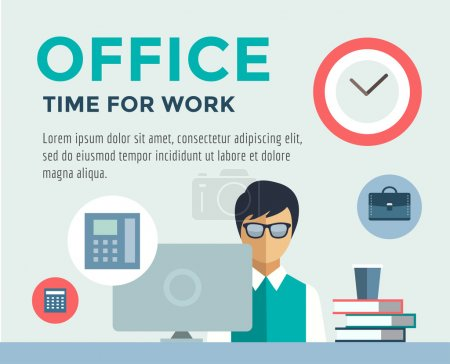 Clerk at Work infographic. Office, Table, Designer and Computer. Vector stock illustration for design.