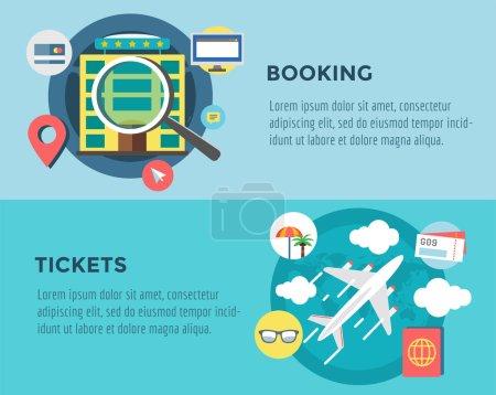 Illustration for Travel by Plane vector illustration. Plane, Baggage and Glasses symbols. Stock design elements - Royalty Free Image