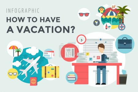 Illustration for Booking Hotel. Travel infographic. Loupe, Building and Search. Vector stock illustration for design - Royalty Free Image