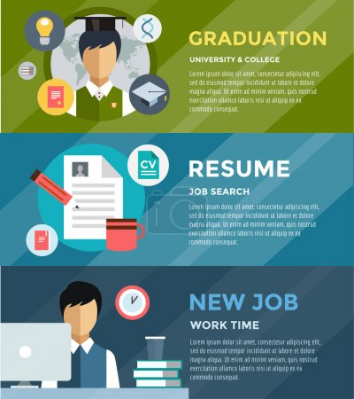 Job search after university infographic. Students, labor, searching and professions. Vector stock illustration for design.