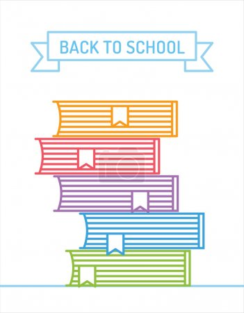 Linear books stack. Education, university, college...