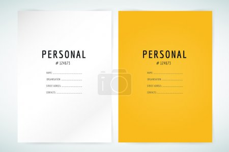 Form blank template. Business folder, paper and print, office, personal information, text, top secret. Vector element. Print design. Isolated on white.