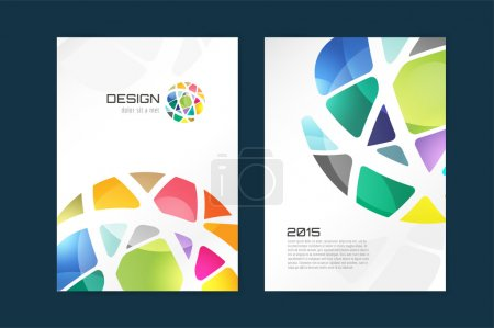 Illustration for Vector globe brochure template. Abstract arrow design and creative magazine idea, blank, book cover or banner template, paper, journal. Stock illustration - Royalty Free Image