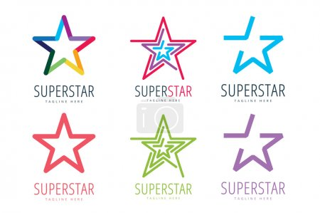 Illustration for Star vector logo icon template set. Leader, boss, winner, rank or ranking. Competition and sport shape. Star symbol. Star vector logo. Leader concept - Royalty Free Image