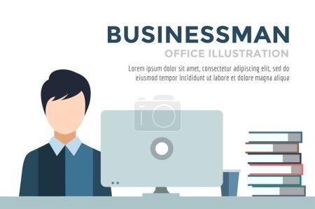 Businessman silhouette. Business man work infographic