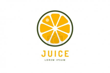 Illustration for Lime or lemon fruit drink logo icon template design. Orange juice. Fruit slice. Fresh juice drink, yellow, splash and vegetarian, cold. Stock vector - Royalty Free Image