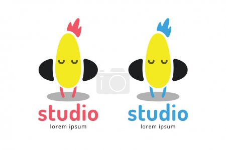 Cute chick silhouette logo icon. Chicken music studio logotype