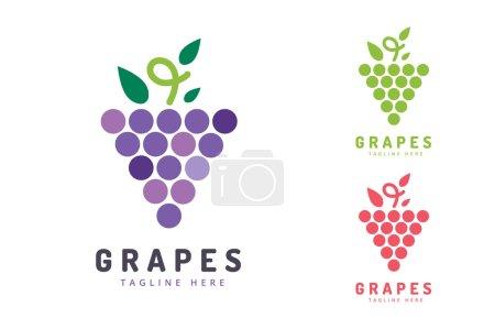 Illustration pour Vecteur de raisins isolé. Icône raisin. Logo de raisin. Vin de raisin ou raisin de vigne. Raisin à feuilles vertes isolé. Logotype de raisin naturel. Icône logo vin ou vigne. Fruits et légumes - image libre de droit