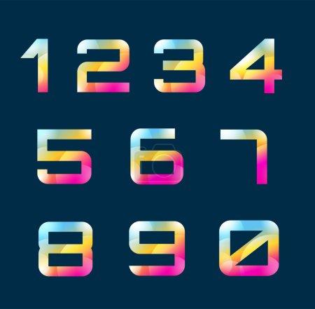 Illustration pour Numéros vecteur de 1 à 9 lettres. Numéros logo icônes ensemble. Chiffres symboles silhouette. Nombres d'icônes isolées. Lettre de style ligne, chiffres modernes. Compter les nombres. Nombres isolés sur fond - image libre de droit