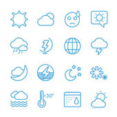 Weather icons outline set Moon sky wind cloud umbrella and wind Calendar logo and weather forecast snowflake globe Weather app buttons Weather icons set Weather symbols vector icons