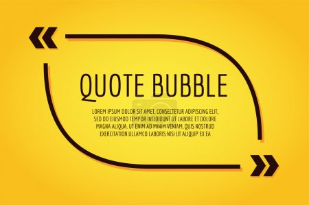 Illustration for Quote blank template. Quote bubble. Empty template. Quote design, quoting box, text sign reference, paper information template. Quote form. Bubble template set. Yellow quote blank icon isolated - Royalty Free Image