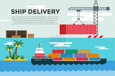 Illustration for Vector transportation concept illustration. Sea shipping in dock terminal. Crane, box, sea, ship, delivery. Transport ship sea view. Sea delivery ship with crane,  boxes, port station. Global delivery - Royalty Free Image
