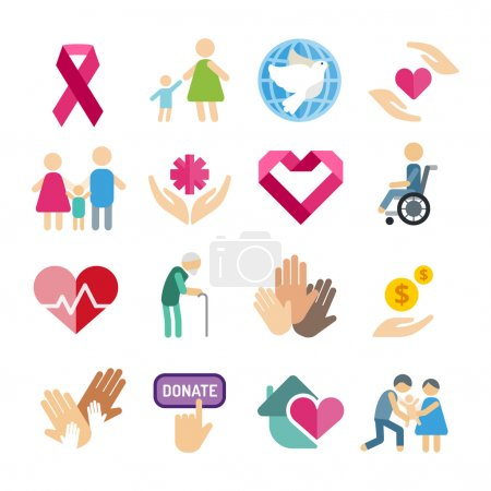 Illustration for Charity flat icons set. Charity vector logo icons. Charity silhouette isolated. Charity, abstract hands logo, heart logo, old people care, child logo, care logo, togetherness concept, family logo - Royalty Free Image