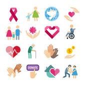 Charity flat icons set