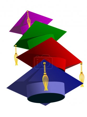 Illustration for Graduation hat vector illustration. Education hat, students or school and college hat symbol. Graduation cap isolated. Education hat symbol. University hat silhouette. Education hat vector isolated - Royalty Free Image