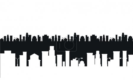 Vector black and white cities silhouette
