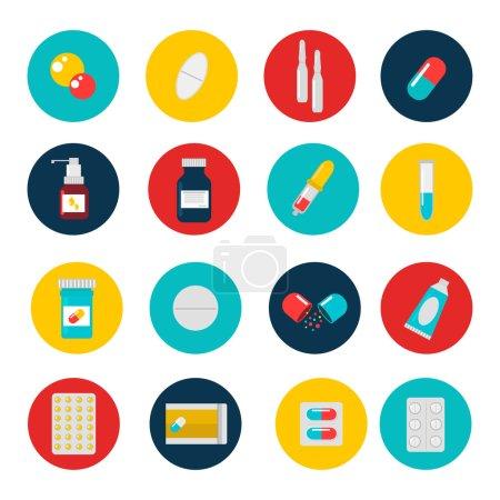 Illustration for Pills capsules icons vector flat set. Medical vitamin pharmacy vector pills illustration. Pills, capsule, drugs, box and bottle. Pills vector bottle box. Pills isolated icons - Royalty Free Image