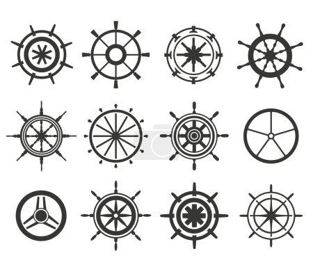 Vector rudder flat icons set