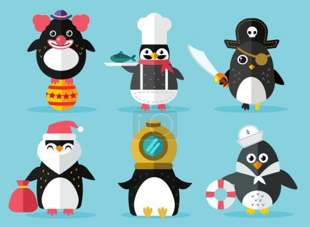 Illustration for Penguin set vector illustration. Cartoon funny penguins different situations. Penguin clown, pirate, christmas santa, captain, sailor, cook.Cartoon penguin vector set illustration.Penguin vector birds - Royalty Free Image