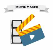 Cinema film clapper board vector illustration icons set