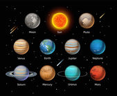 Planets colorful set on dark background