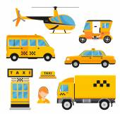 Different types of taxi transport Cars helicopter van truck bike and motorcycle