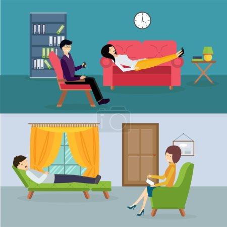 Psychologist office cabinet room vector illustration