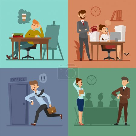 Business work time lag vector illusutration