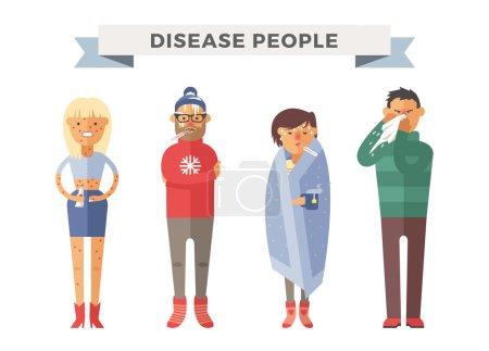 Illustration pour Illustration vectorielle malade. Attaque de virus saisonnière. Des malades, des malades. Illustration froide des gens. Les gens ont besoin d'aide médicale. Virus, santé, fièvre, silhouette des gens. Les gens se sentent mal - image libre de droit