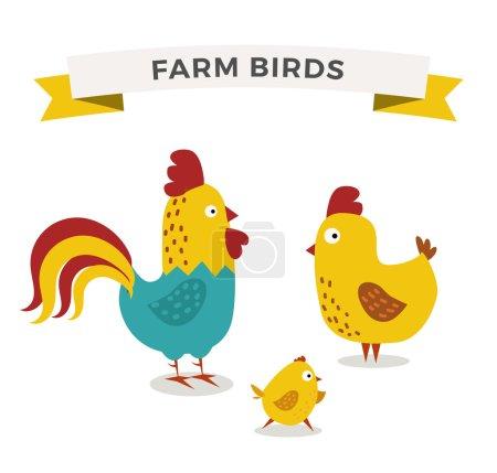 Illustration pour Mignon dessin animé poulet famille, animaux de ferme - image libre de droit