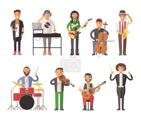 Musiciens gens plat illustration vectorielle