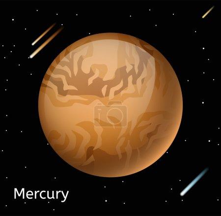 Mercury planet 3d vector illustration. Globe Mercu...