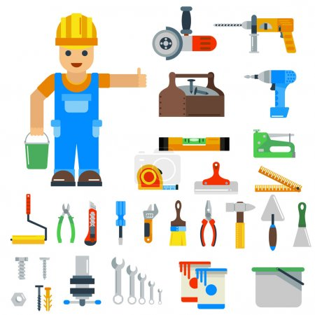 Illustration for Home repair tools vector icons. Repair vector sign flat modern style vector illustration. Repair icons isolated on white background. Repair tools, repair man profession silhouette - Royalty Free Image