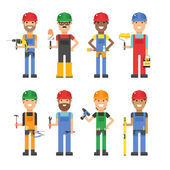 Cartoon workers and other tools under construction vector illustration