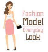 Beautiful vector cartoon fashion girl model constructor  look standing over white background