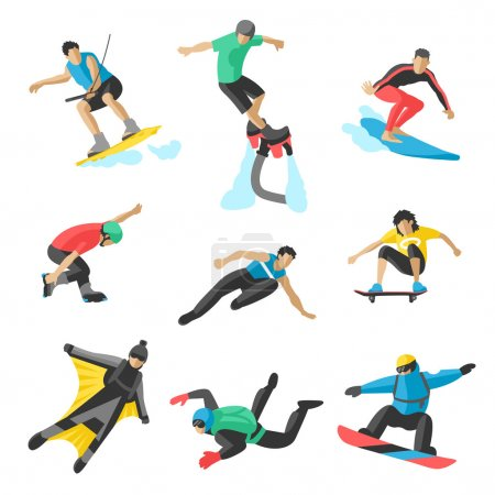 Extreme sport vector people. Parasailing, wakeboard, snowboard, rocker, snowboards, flybord, parkour, extreme, flying, man, bat, acrobatics, aerial, skyserfing, wingsuit