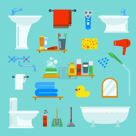 Illustration for Bathroom and toilet flat style vector icons isolated on background. Bathroom  tools and sign vector illustration. Bathroom icons - Royalty Free Image