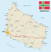 road map of the Danish island bornholm in the Baltic sea with flag