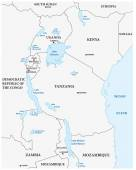 vector outline map of the great African lakes