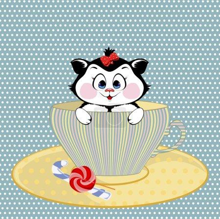 Foto de Small kitty with bow sits in a circle - Imagen libre de derechos