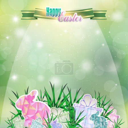 Abstract spring background with ribbon, Easter eggs and Bunny in