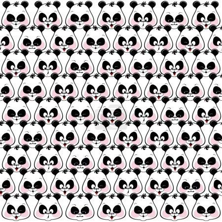 Seamless pattern of funny muzzles pandas.