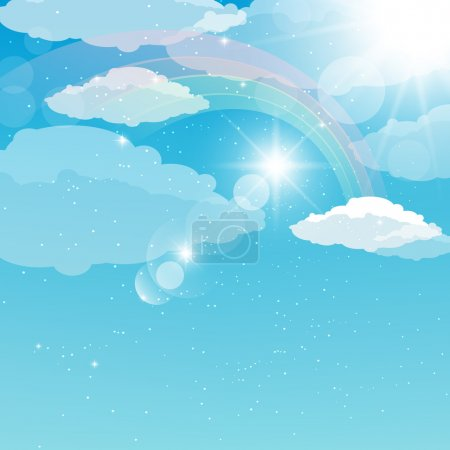 abstract illustration of a sky with a rainbow, rays and s